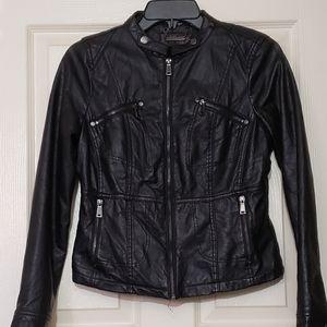 Women's black leather jacket biker rider jacket
